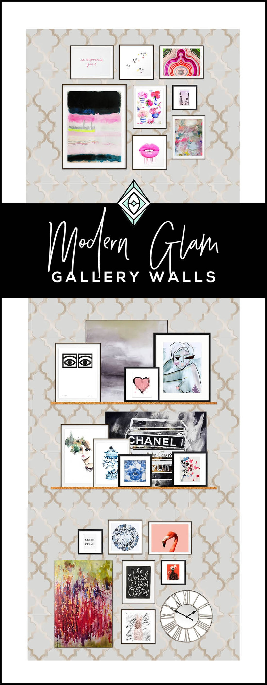 How to Create a Modern Glam Gallery Wall • Little Gold Pixel • You have the Modern Glam decor, but what about the equally glam gallery wall? Click through for a detailed style guide and gallery wall examples!