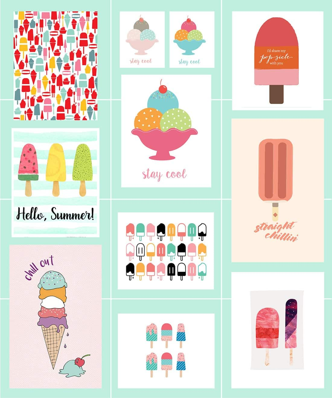 picture regarding Cool Printables titled Ice Product Free of charge Printables 40+ Summer months Artwork Roundup Small