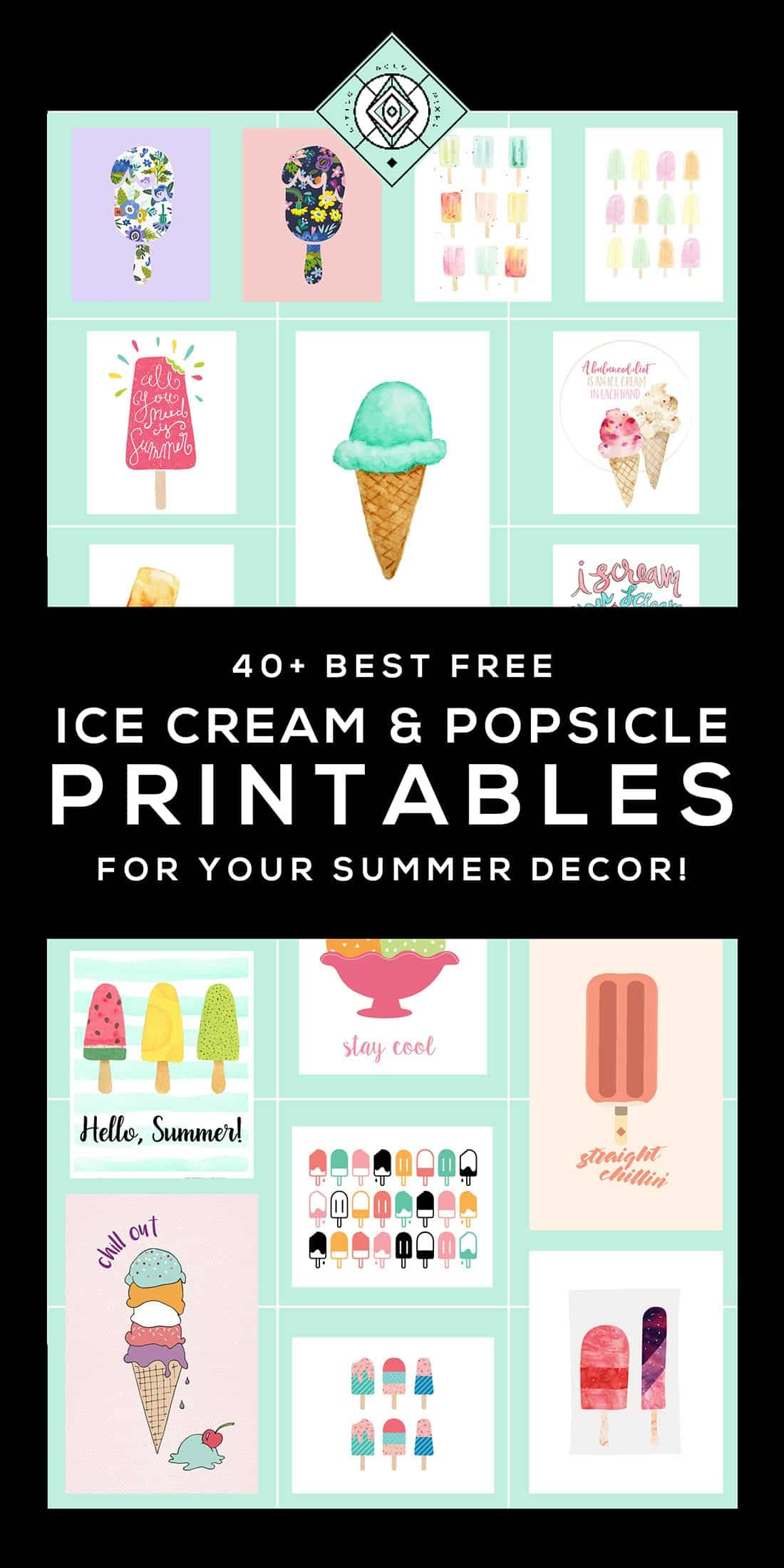In which I round up 40+ ice cream free printables perfect for incorporating into your summer gallery walls or seasonal decor. Who doesn't love ice cream!? • littlegoldpixel.com