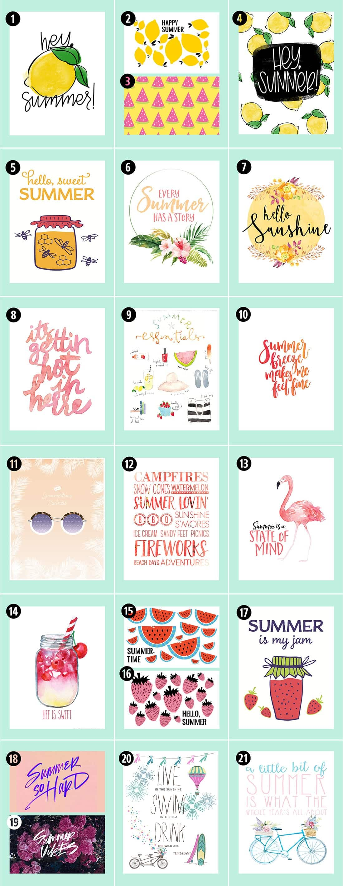 picture regarding Have a Sweet Summer Printable named Roundup: 38 Absolutely free Summer season Printables Minimal Gold Pixel
