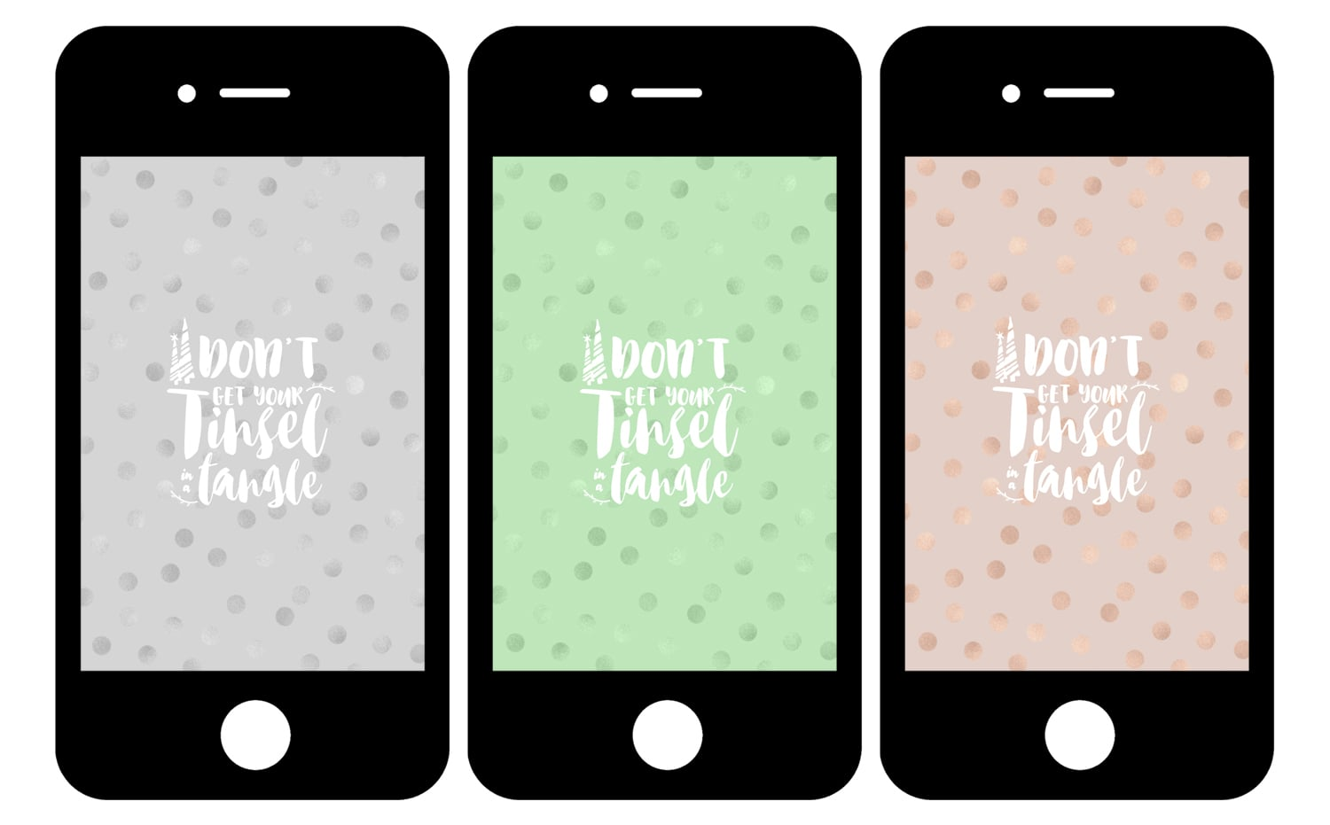 Free Holiday Phone Wallpapers: Don't Get Your Tinsel in a Tangle • Little Gold Pixel