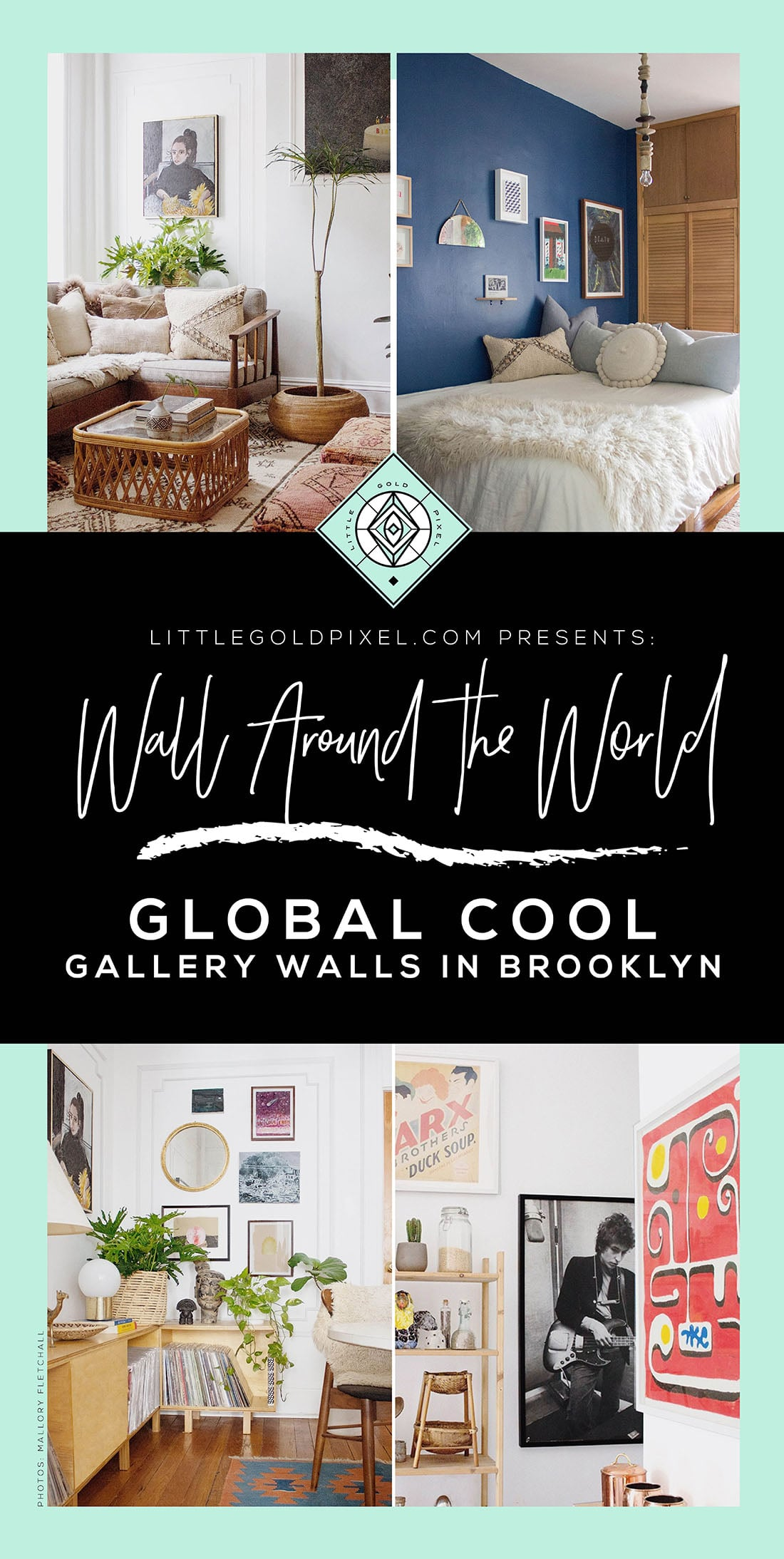 In this installment of the Wall Around the World home tour series, Mallory gives us the inside scoop on her global cool gallery walls and California-cool-meets-Mid-Century Modern home decor. • Little Gold Pixel • Photos © Mallory Fletchall