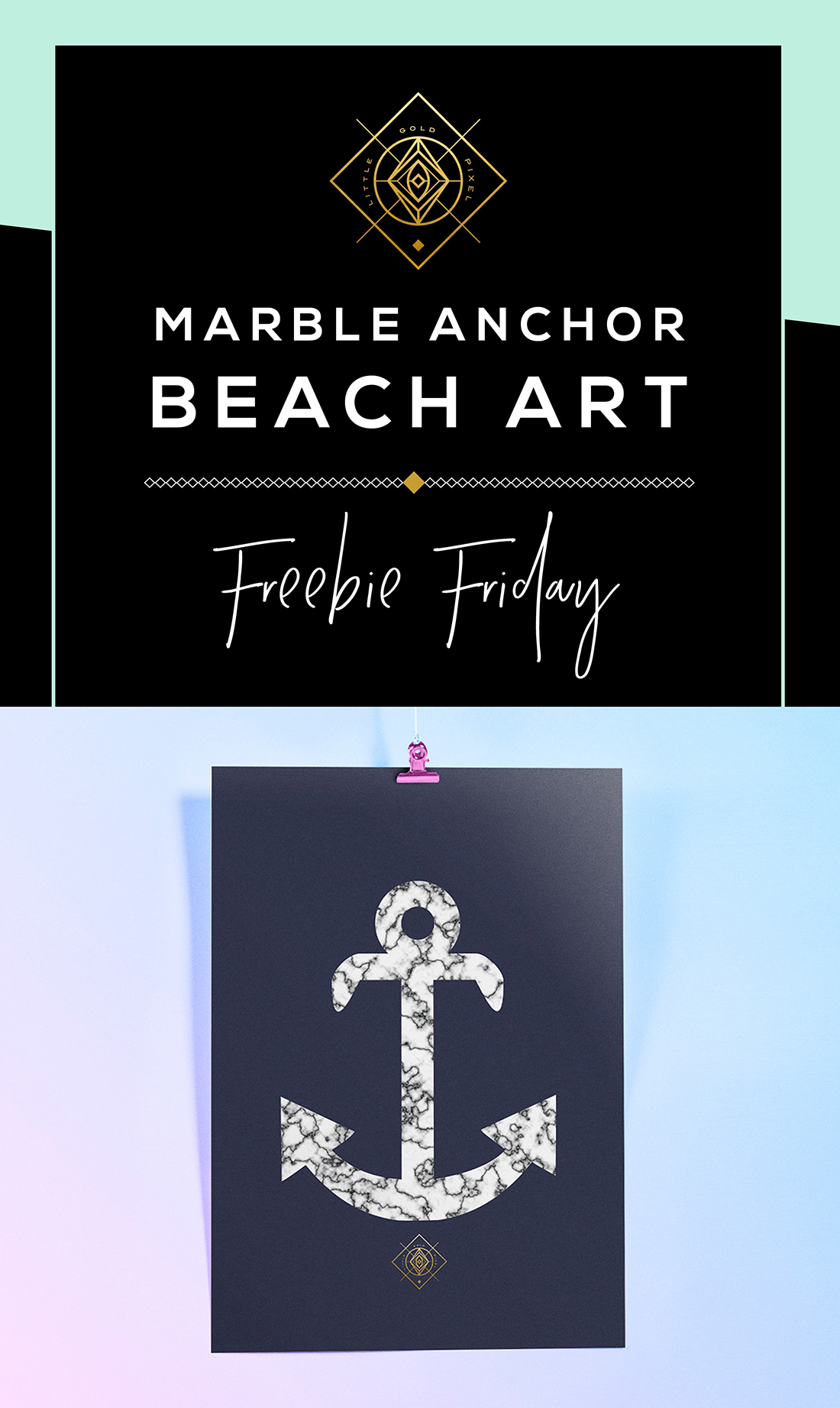 Marble Anchor Free Printable • Little Gold Pixel