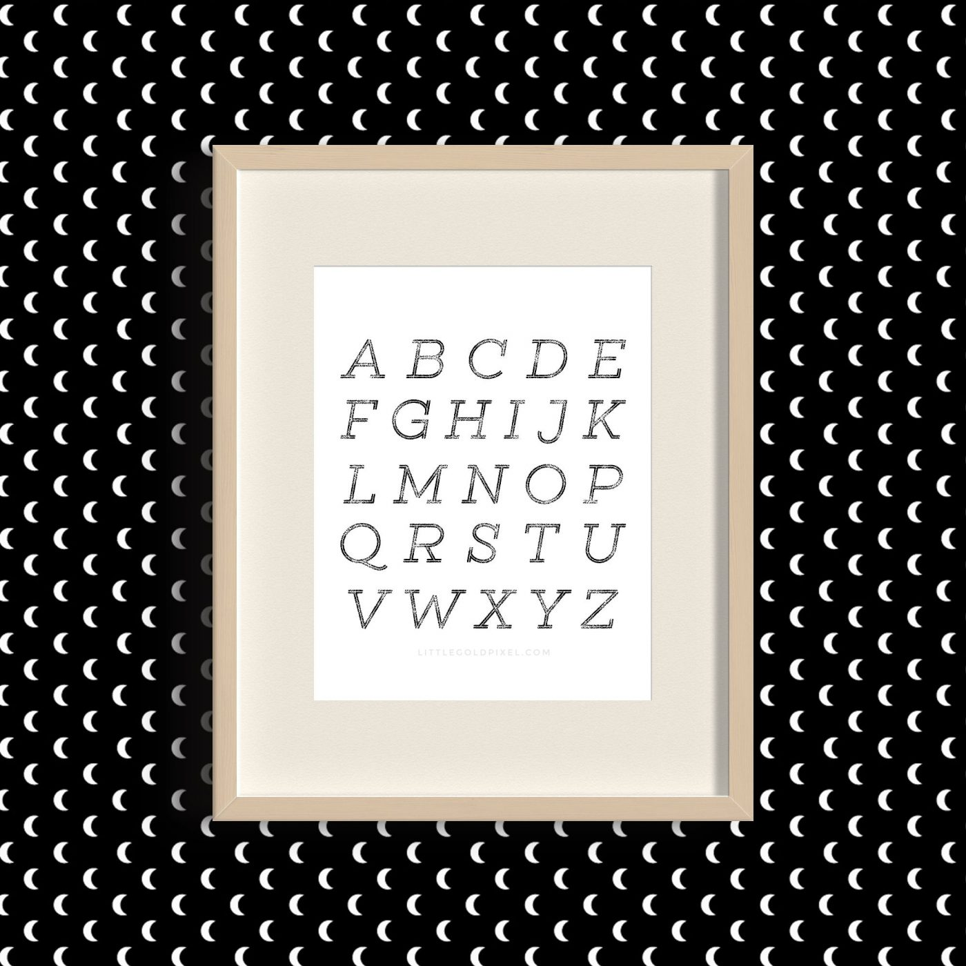 Alphabet Minimal Free Art Printable • Little Gold Pixel