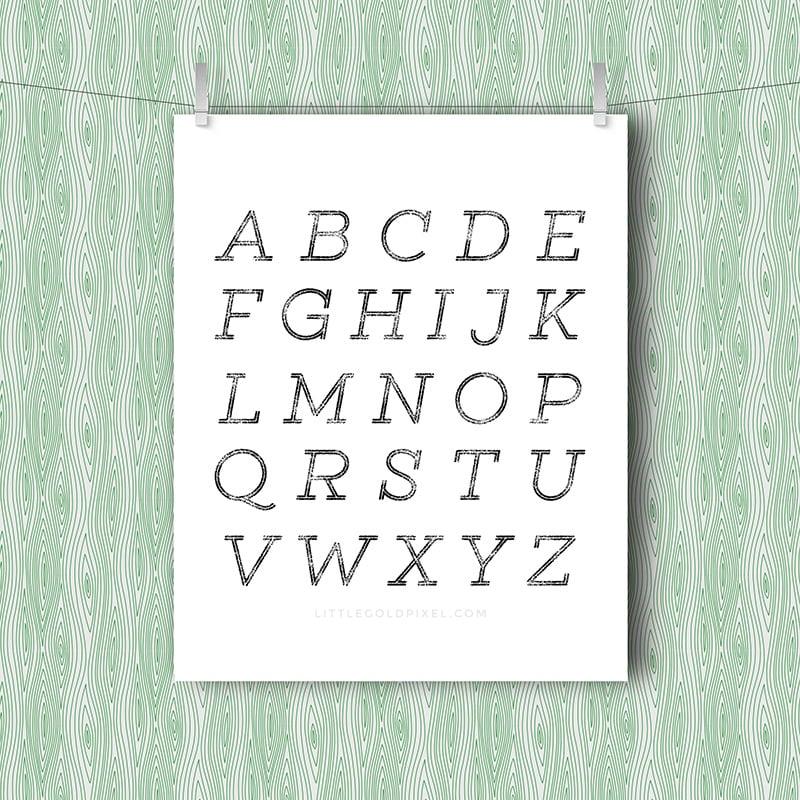 Alphabet Minimal Free Art Printable • Little Gold Pixel