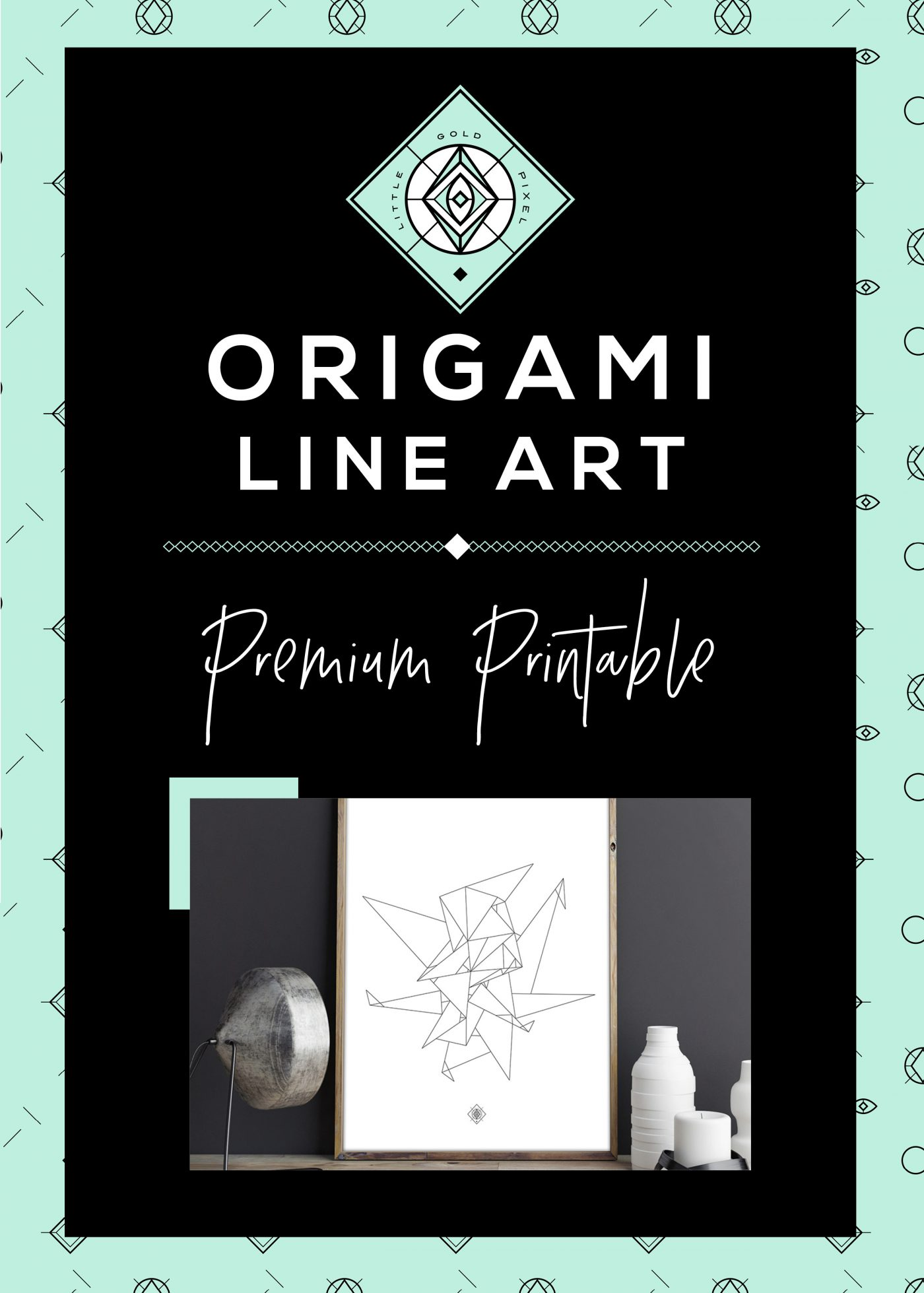 Origami Line Art Free Printable • Little Gold Pixel
