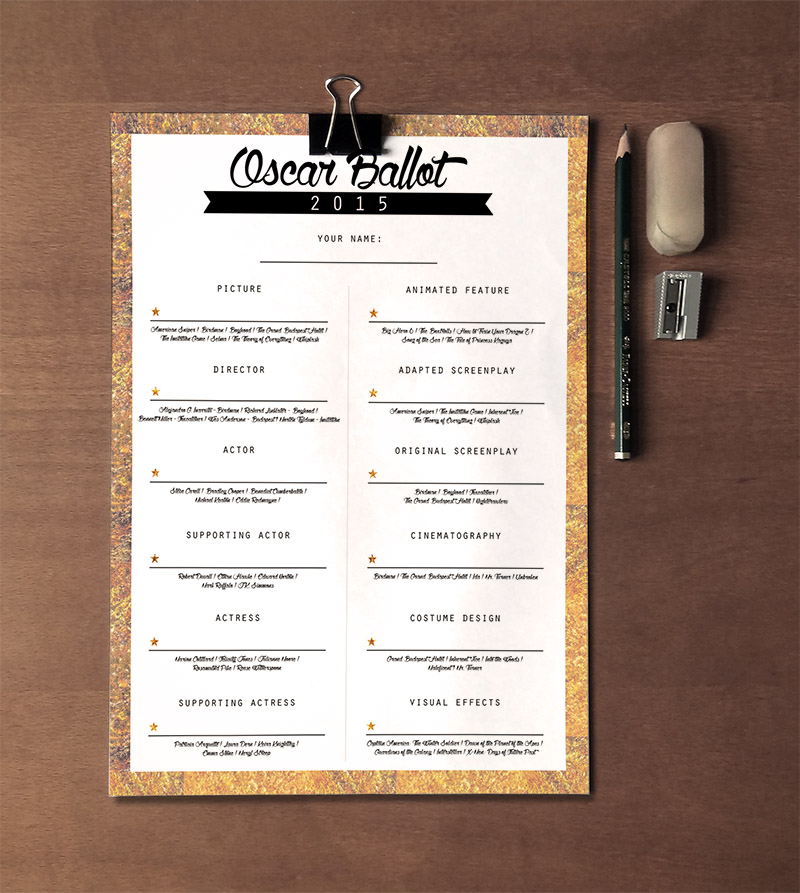 Oscar Ballot 2015 Free Printables • Little Gold Pixel