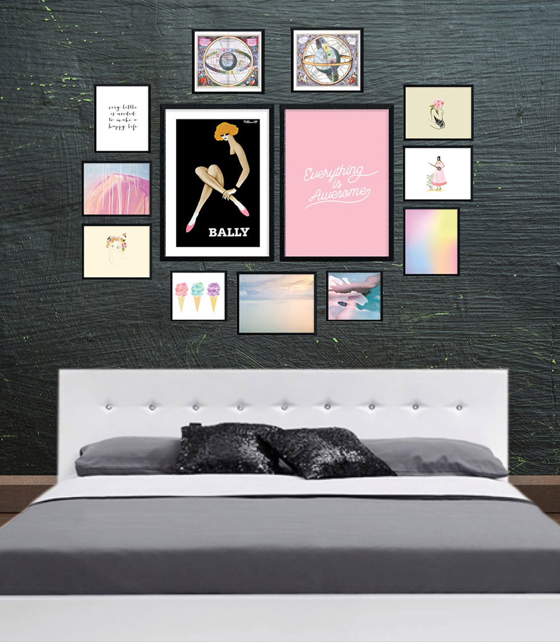 Pretty in Pastel Gallery Wall for an Elegant Bedroom • Frame Game isanoccasional series in which I take readers' gallery wall requests and find art that fits their personalities •Little Gold Pixel