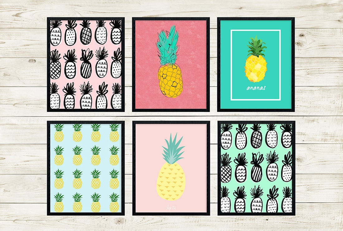 photograph relating to Free Printable Pineapple referred to as Free of charge Pineapple Printables Incredible Roundup Minimal Gold Pixel