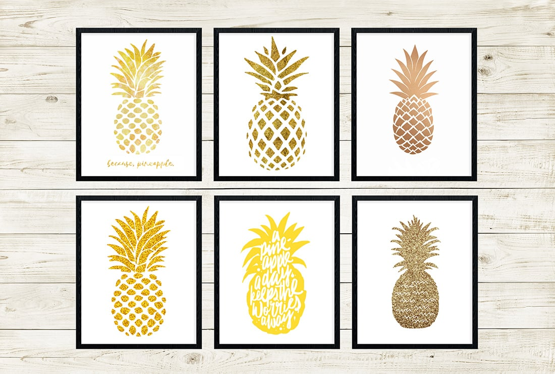 picture regarding Free Printable Pineapple named Free of charge Pineapple Printables Remarkable Roundup Minimal Gold Pixel