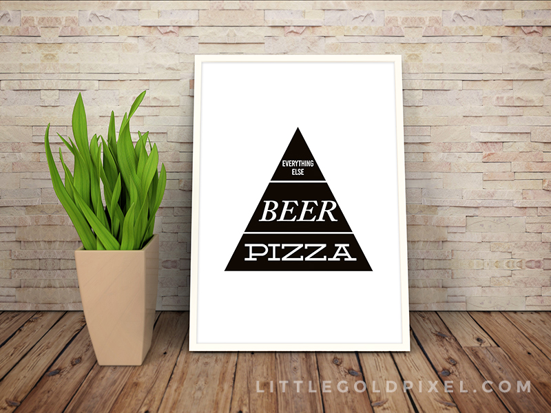Free Printables Kitchen Wall Art • Pizza and Beer Faux Food Pyramid Free Printable • Little Gold Pixel