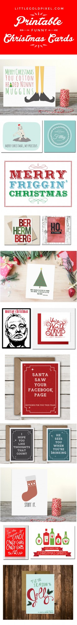 My Last-Minute Christmas Card Solution •littlegoldpixel.com • Funny, cute printable cards from Etsy designers