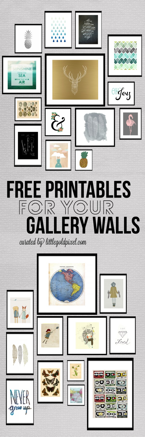 Wall Art Prints Download : Roundup free printables for gallery walls little gold pixel