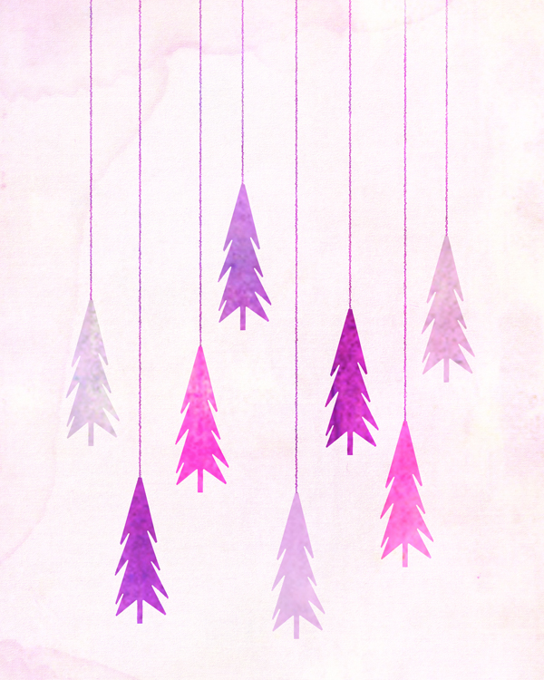 christmas trees free printable art