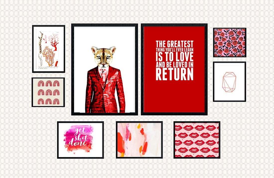 Nice Red Theme Gallery Wall A Pop of Pink