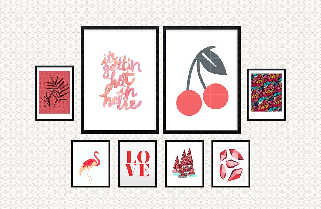 Fresh Red Theme Gallery Wall Soft and Softer