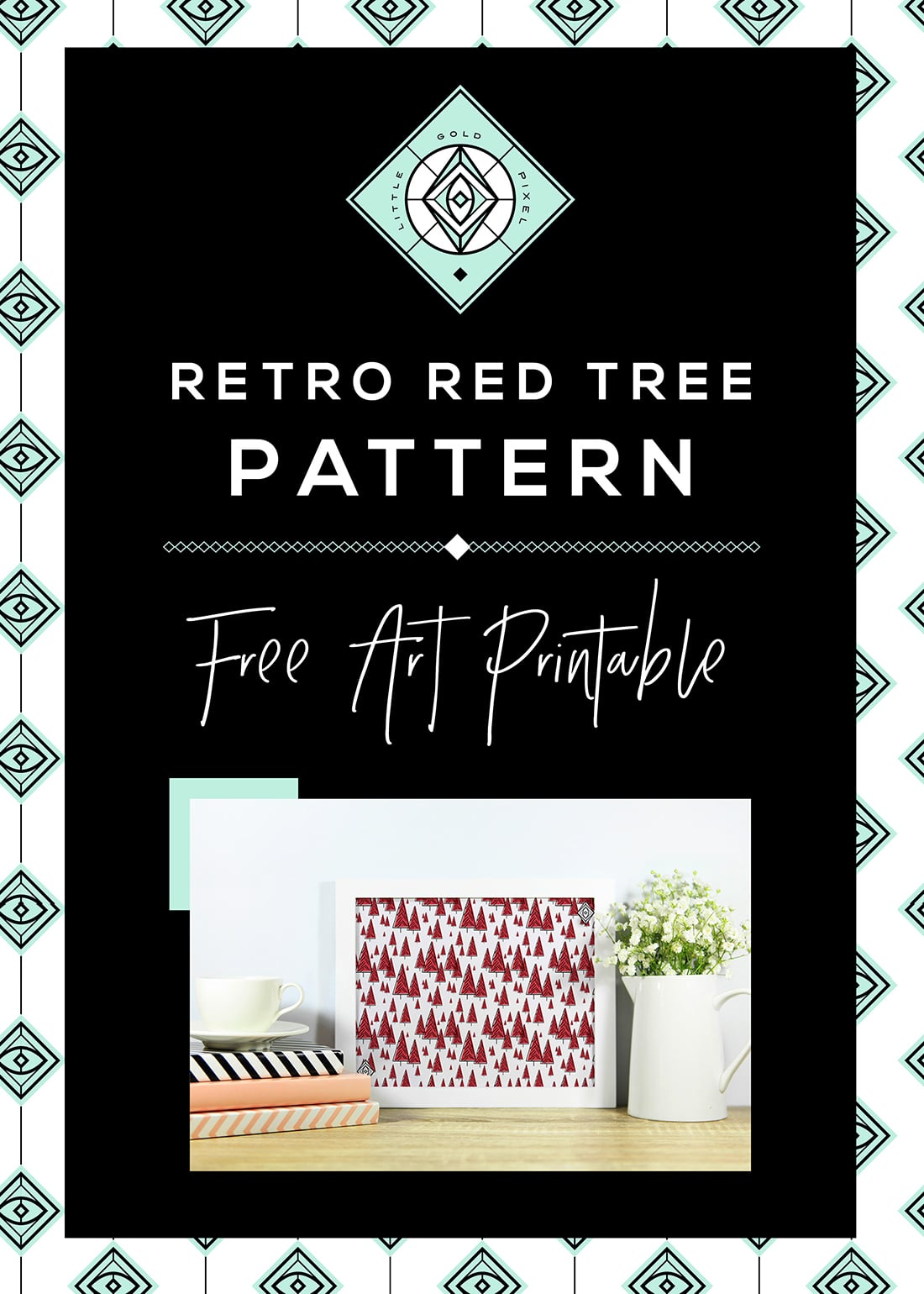 Retro Tree Pattern Free Art Printable • Little Gold Pixel