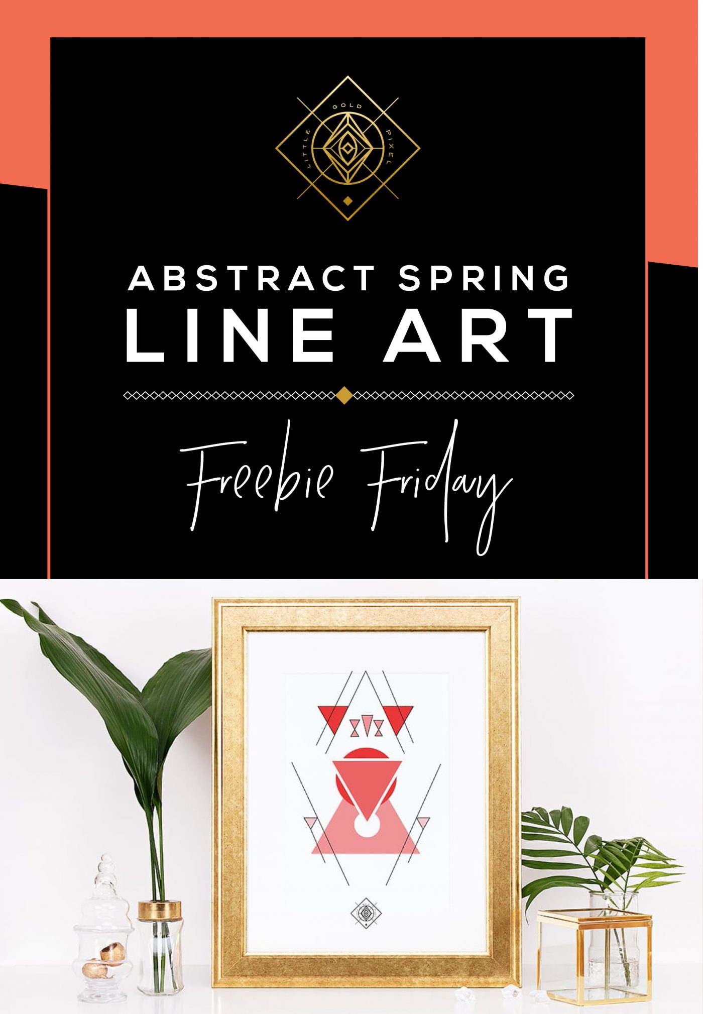 Geometric Line Art Printable for Spring • Freebie Fridays • Little Gold Pixel