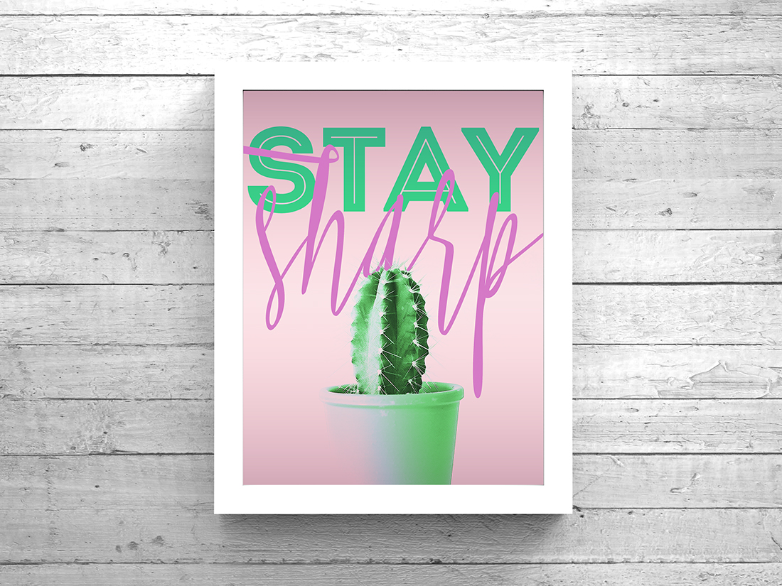Cactus Art Printable Video • Little Gold Pixel
