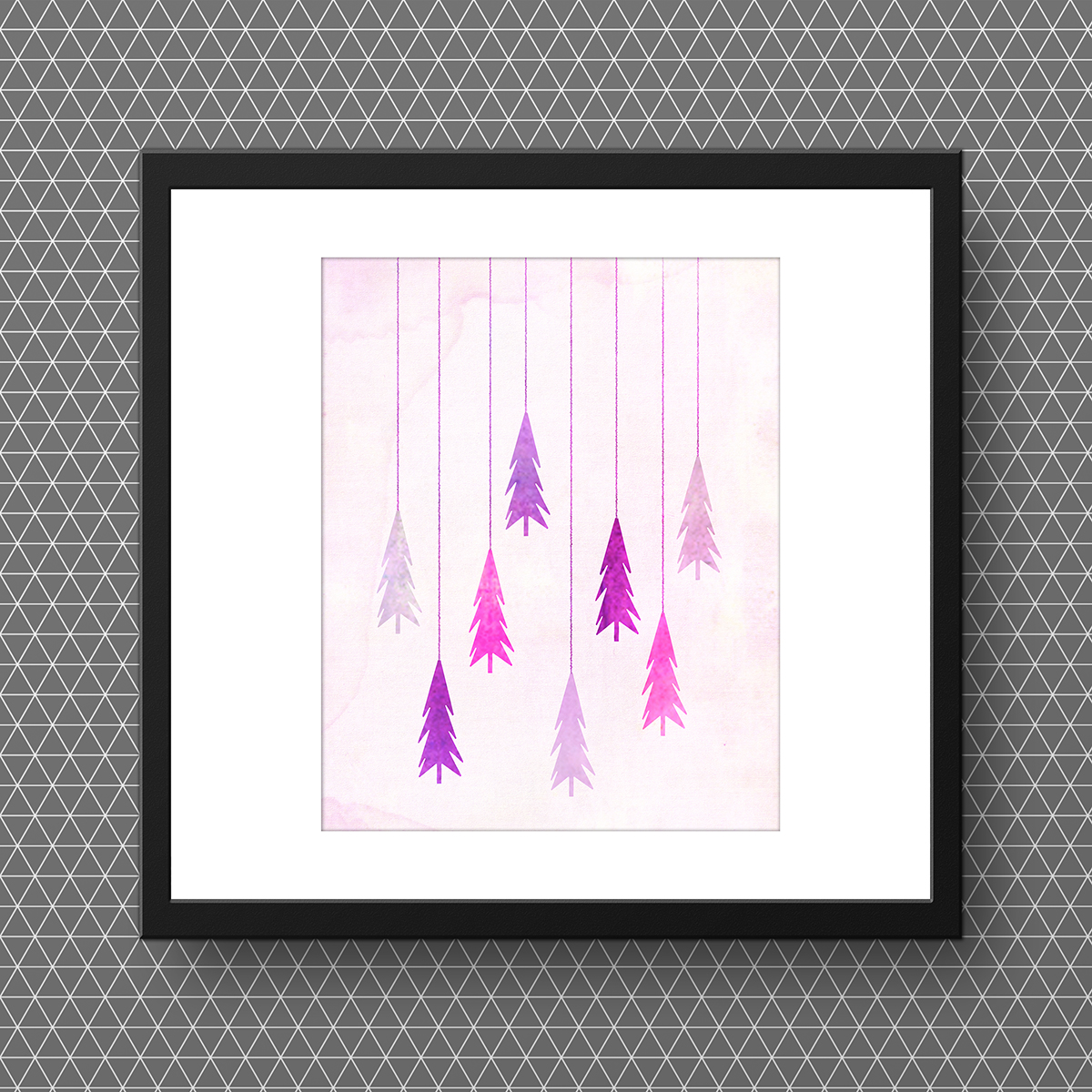 Purple Christmas Trees Free Watercolor Printable • Little Gold Pixel