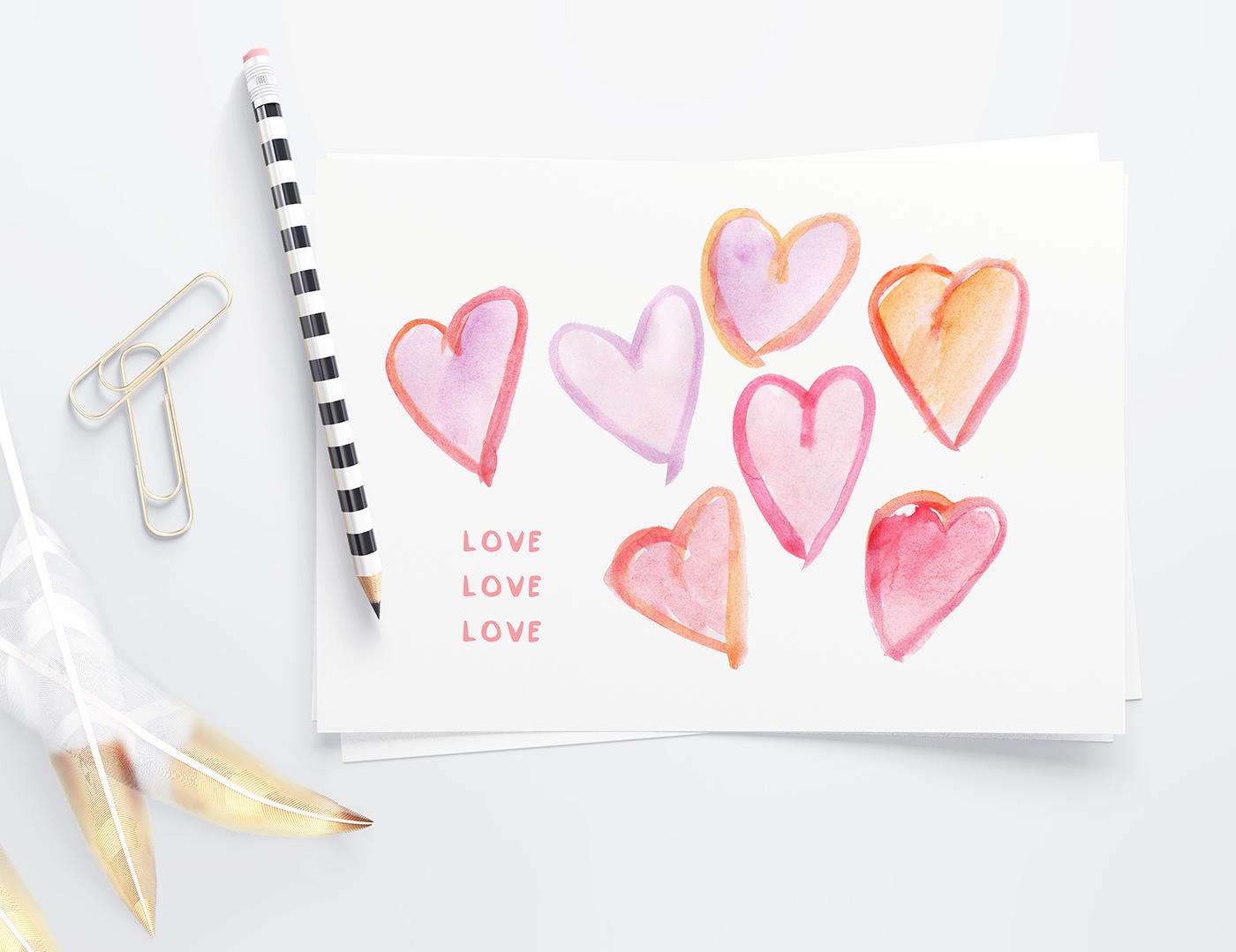free watercolor hearts clip art u2022 little gold pixel